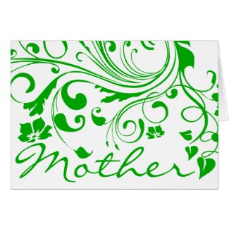 Green Floral Swirls Mother's Day Greeting Cards