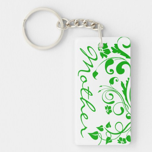 Green Floral Swirls Mother's Day Double-Sided Rectangular Acrylic Keychain