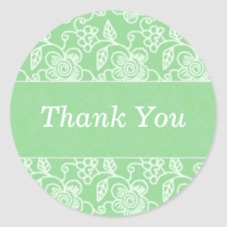 Green Floral Swirls Thank You Stickers