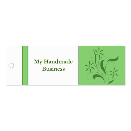 Green Floral Tag Business Cards