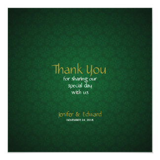 Green Floral Texture Square Thank You Card