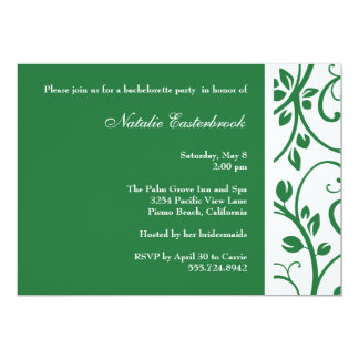 Green Floral Vine Bachelorette Party Invitation