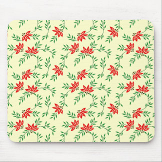 Green Floral Vines Pattern Mouse Pad