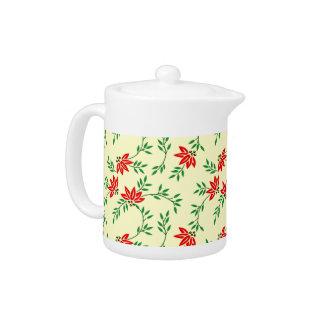 Green Floral Vines Pattern Tea Pot