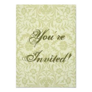 Green Floral Vintage Design 4.5x6.25 Paper Invitation Card