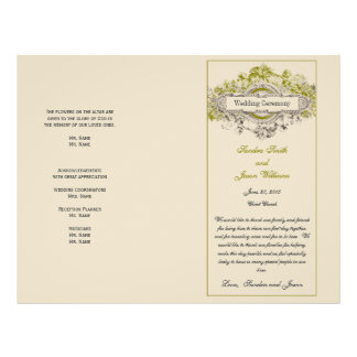 Green Floral Vintage Wedding Program