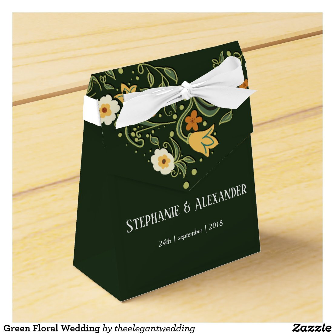 Green Floral Wedding Favor Box
