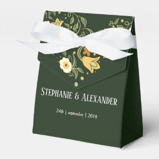 Green Floral Wedding Favor Box