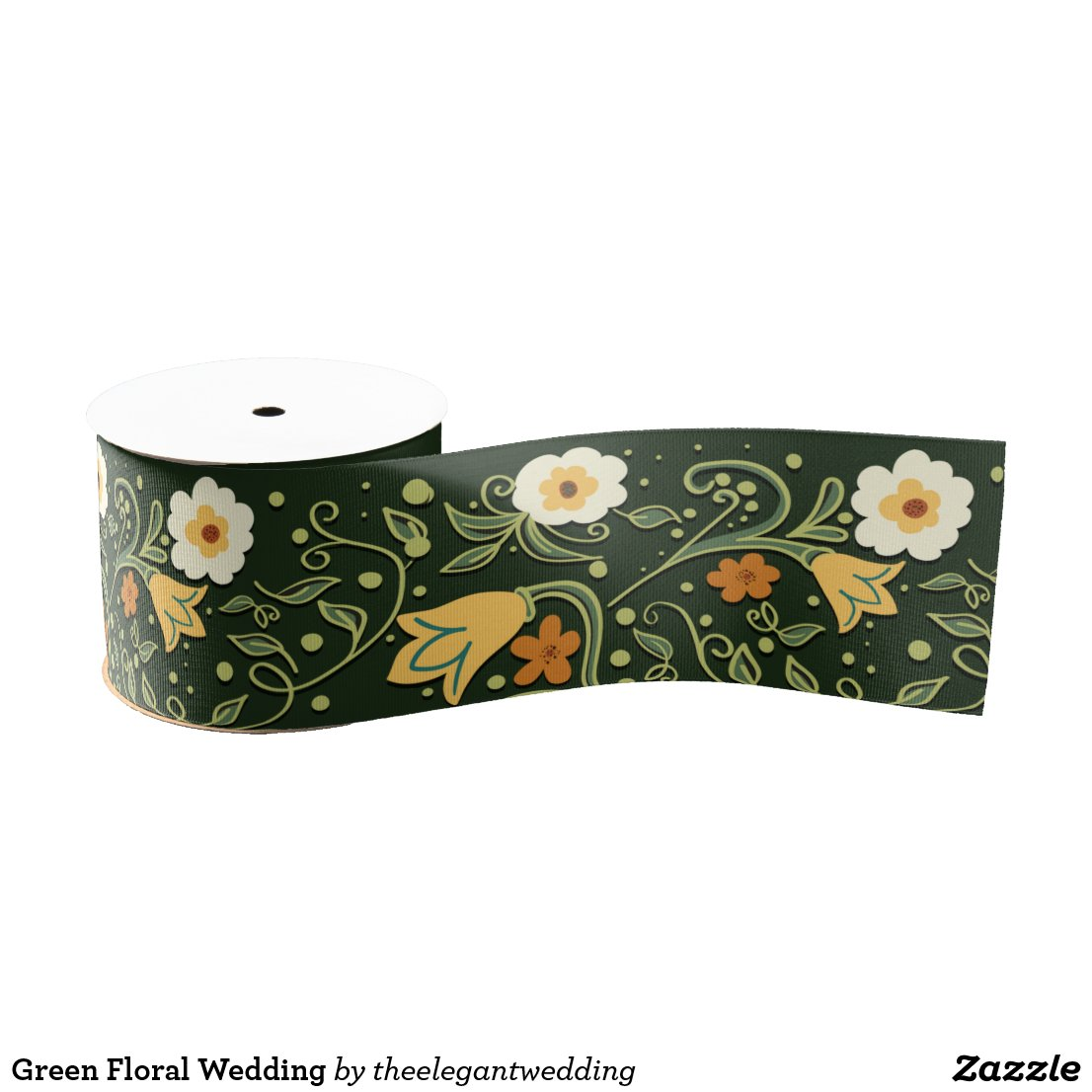 Green Floral Wedding Grosgrain Ribbon