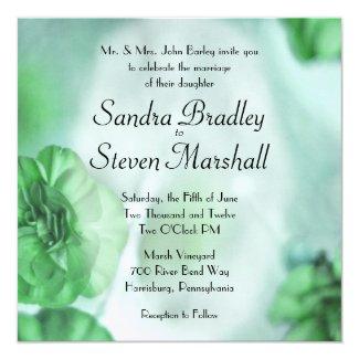"""Green Floral Wedding Invitations 5.25"""" Square Invitation Card"""