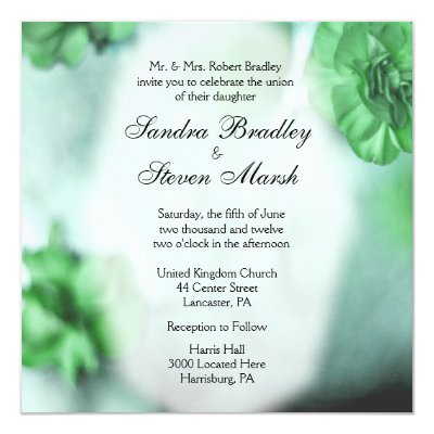 Green Floral Wedding Invitations