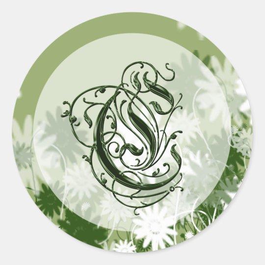Green Floral Wedding Monogram C Seal