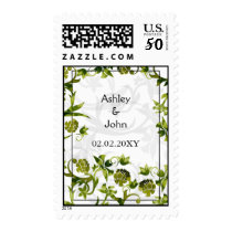 green floral wedding save the date postage