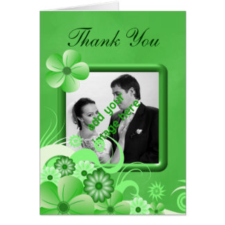 Green Floral Wedding Thank You Photo Note Cards