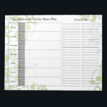 """Green Floral Weekly Personalized Menu Plan Notepad<br><div class=""""desc"""">You can personalize the name on this handy green floral personalized weekly menu plan calendar tear away notepad. Just fill it in each week and then tear it away to get to the next blank week. It includes meal planning for the whole week and a section to write out your...</div>"""