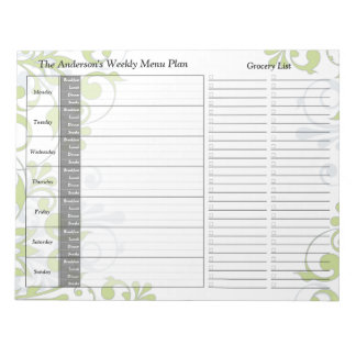 Green Floral Weekly Personalized Menu Plan Notepad