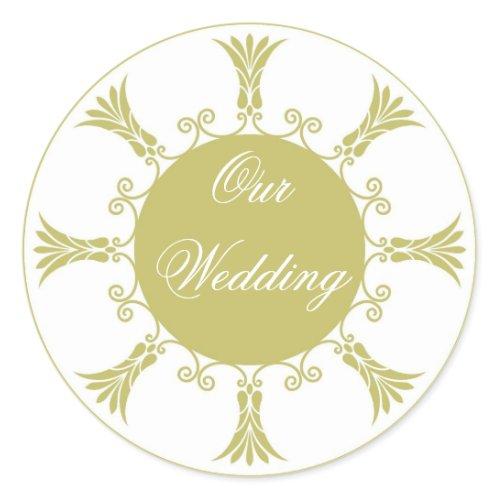 Green Flourish Design-Our Wedding Classic Round Sticker