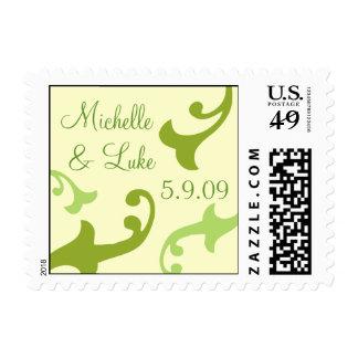 Green Flourish Wedding Postage