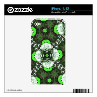 Green flower Abstract art Pattern Skins For iPhone 4S