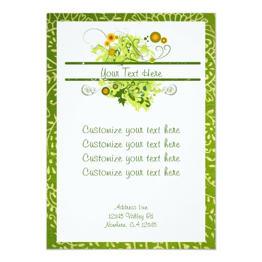 Green Flower and Paisley Invitation