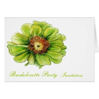 Green Flower botanical Bachelorette invitation Greeting Card