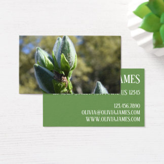 Green Flower Bud Garden Nature Photography Floral Business Card