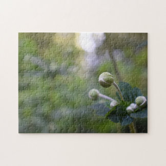 Green Flower Bud Garden Nature Photography Floral Jigsaw Puzzle