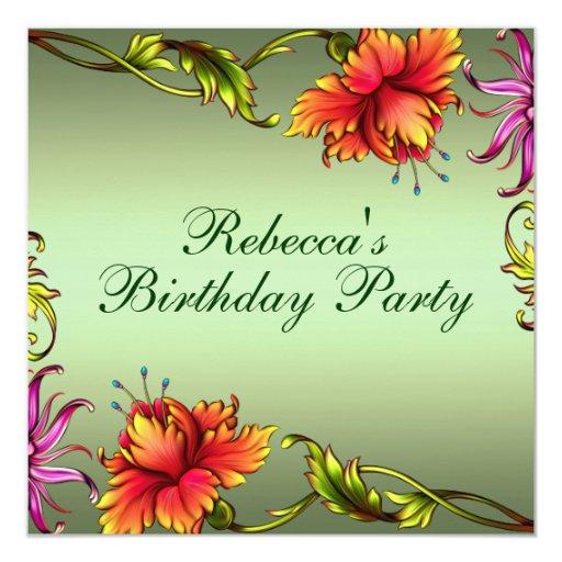 "Green Flower Burst Design Birthday Invitation 5.25"" Square Invitation Card"