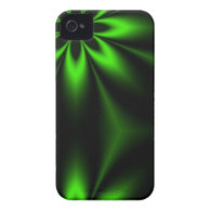 Green Flower Burst Fractal Case-Mate iPhone 4 Cases