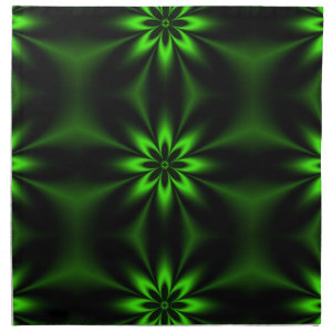 Green Flower Burst Fractal Napkin