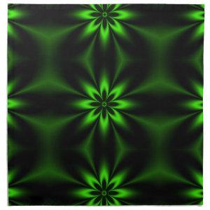 Green Flower Burst Fractal Napkin