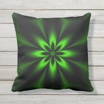 Green Flower Burst Outdoor Pillow