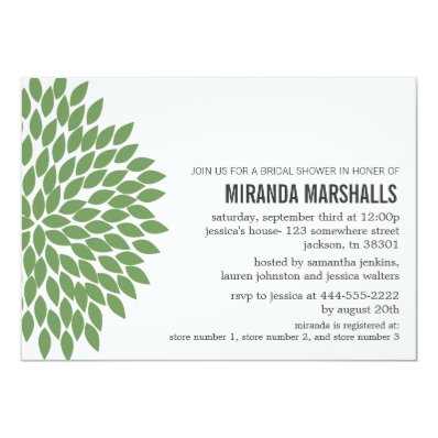 Green Flower Design Bridal Shower Invitations