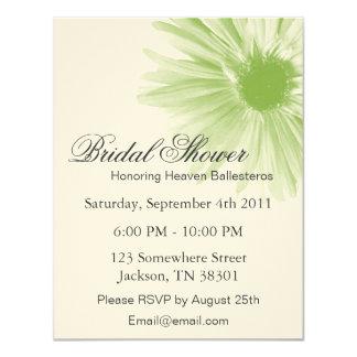 "Green Flower Design   Bridal Shower Invitations 4.25"" X 5.5"" Invitation Card"