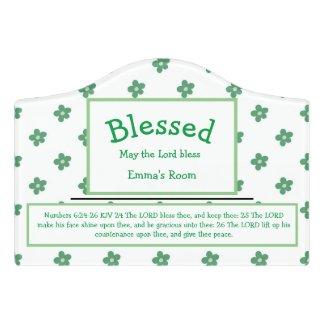Green Flower Dot Name Blessing Nursery Door Sign