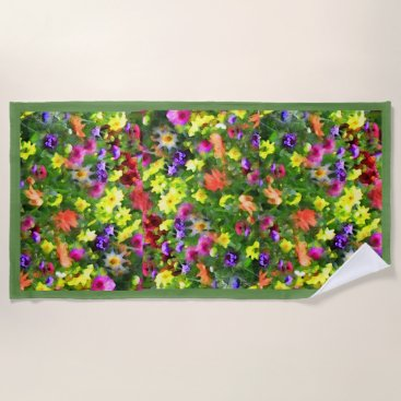 Beach Themed Green Flower Garden Floral Impressions Beach Towel