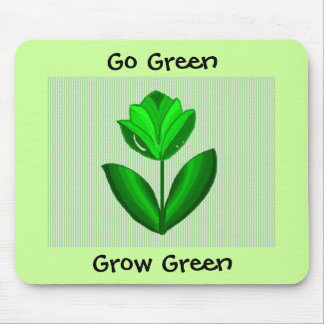 Green Flower  -  Go Green Mouse Pad