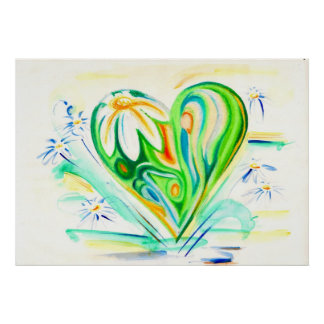 Green Flower Heart and Daisies Poster