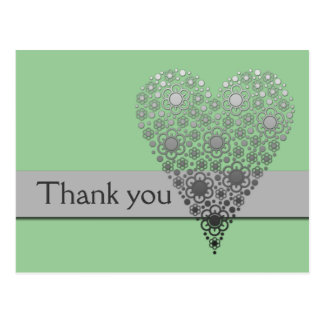 Green Flower Heart Thank you card