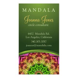 Green Flower Mandala Business Card Template