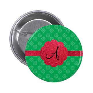 Green flower monogram button