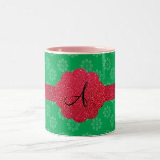 Green flower monogram mugs