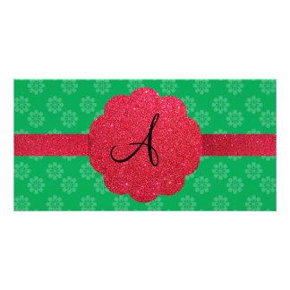 Green flower monogram photo card