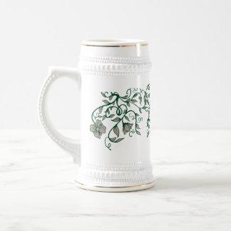 Green Flower 18 Oz Beer Stein