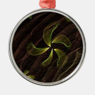 green flower on brown smoke christmas ornament