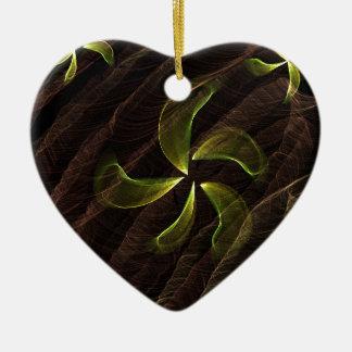 green flower on brown smoke christmas tree ornaments