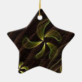 green flower on brown smoke ornaments