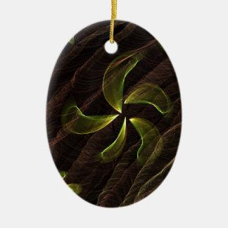 green flower on brown smoke christmas ornaments