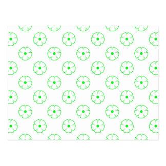 Green Flower Pattern 1 Green Postcard