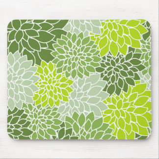 Green Flower Pattern Mouse Pad